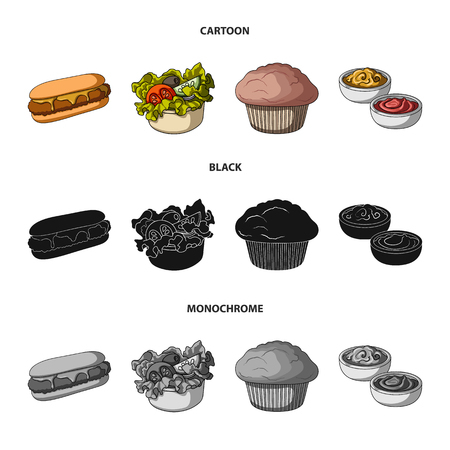 Food, rest, refreshments, and other web icon in cartoon,black,monochrome style.Cake, biscuit, cream, icons in set collection.