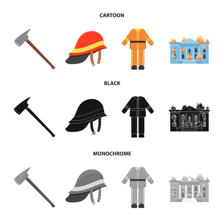 Ax, helmet, uniform, burning building. Fire departmentset set collection icons in cartoon,black,monochrome style vector symbol stock illustration web.