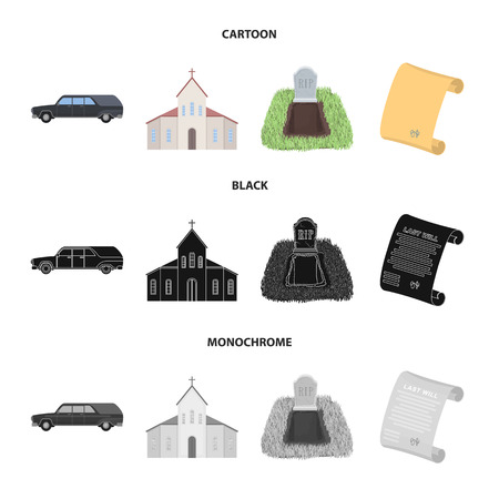 Black cadillac to transport the grave of the deceased, a church for a funeral ceremony, a grave with a tombstone, a death certificate. Funeral ceremony set collection icons in cartoon,black,monochrome style vector symbol stock illustration web.