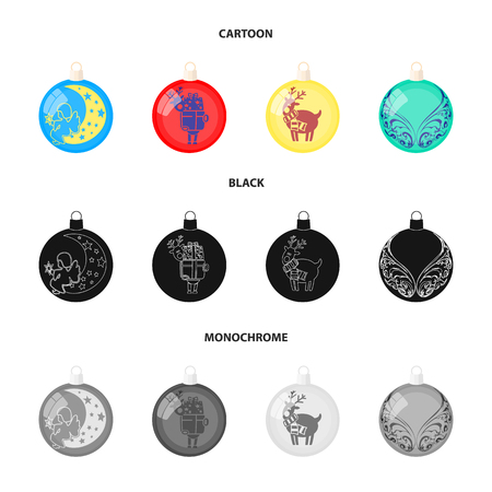 New Year's Toys cartoon,black,monochrome icons in set collection for design.Christmas balls for a treevector symbol stock illustration.