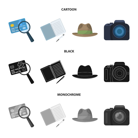 Camera, magnifier, hat, notebook with pen.Detective set collection icons in cartoon,black,monochrome style vector symbol stock illustration web.