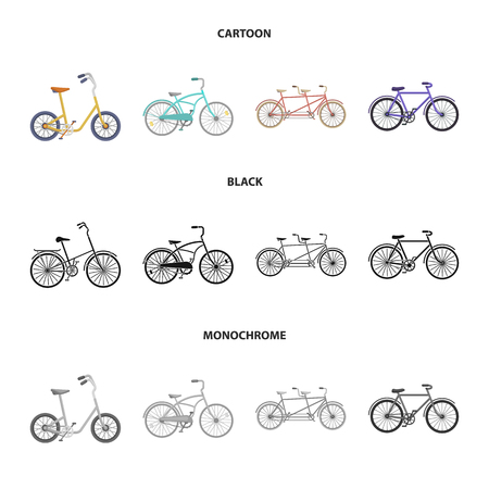 Childrens bicycle, a double tandem and other types.Different bicycles set collection icons in cartoon,black,monochrome style vector symbol stock illustration web.