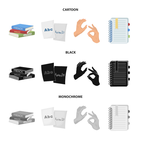 A pile of books in different languages, sheets of paper with translation, a gesture of deaf mutes, a notebook with text. Interpreter and translator set collection icons in cartoon,black,monochrome style vector symbol stock illustration .