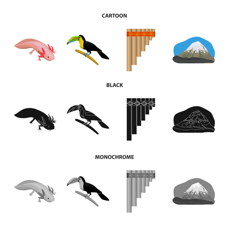 Sampono Mexican musical instrument, a bird with a long beak, Orizaba is the highest mountain in Mexico, axolotl is a rare animal. Mexico country set collection icons in cartoon,black,monochrome style vector symbol stock illustration web.