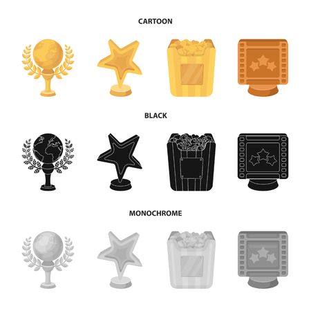 A gold prize in the form of a star, a gold globe and other prizes.Movie awards set collection icons in cartoon,black,monochrome style vector symbol stock illustration web.
