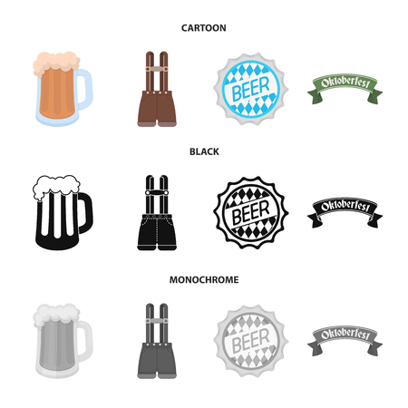 Shorts with suspenders, a glass of beer, a sign, an emblem. Oktoberfest set collection icons in cartoon,black,monochrome style vector symbol stock illustration web.