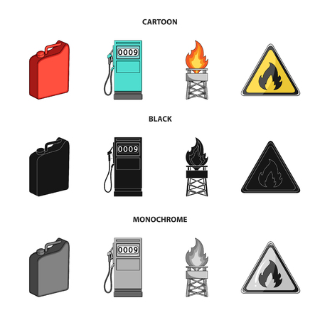Canister for gasoline, gas station, tower, warning sign. Oil set collection icons in cartoon,black,monochrome style vector symbol stock illustration web.