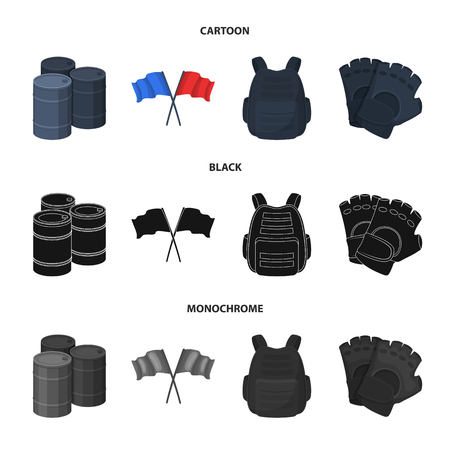 Protective vest, gloves and other equipment. Paintball single icon in cartoon,black,monochrome style vector symbol stock illustration web.
