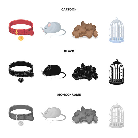 A collar, a forage, a toy, a cage and other products of the zoo store.Pet shop set collection icons in cartoon,black,monochrome style vector symbol stock illustration web.