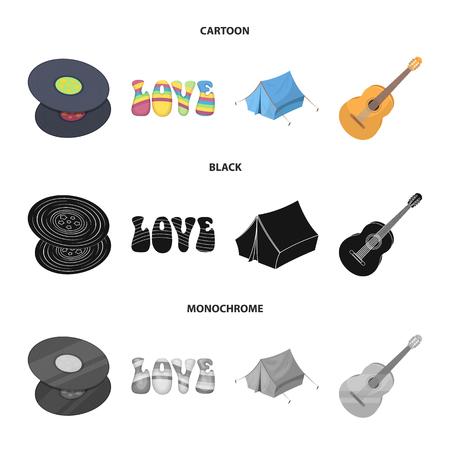 Vinyl discs, guitar, tent.Hippy set collection icons in cartoon,black,monochrome style vector symbol stock illustration web. Illustration