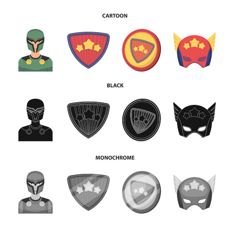 Man, mask, cloak, and other web icon in cartoon,black,monochrome style.Costume, superforce, icons in set collection.
