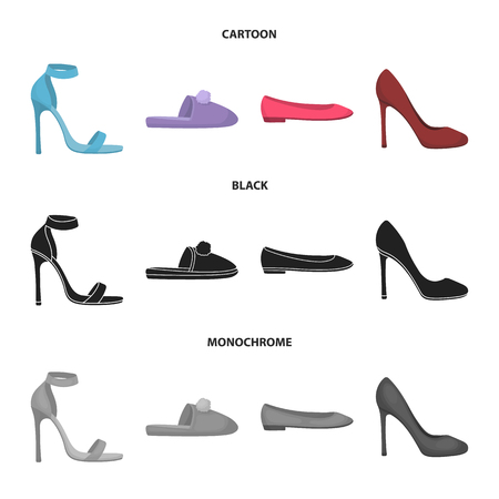 Blue high-heeled sandals, homemade lilac slippers with a pampon, pink womens ballet flats, brown high-heeled shoes. Shoes set collection icons in cartoon,black,monochrome style vector symbol stock illustration web.