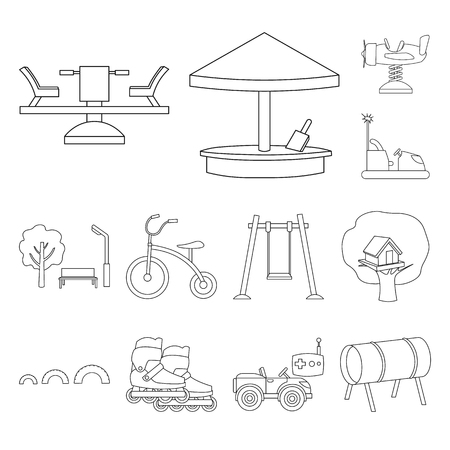 Playground, entertainment outline icons in set collection for design. Attraction and equipment vector symbol stock web illustration.
