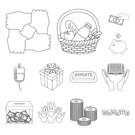 Icônes de contour de charité et de donation dans la collection de jeu pour la conception. Illustration de stock de symbole vecteur aide matérielle.