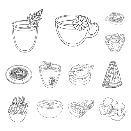 Vegetarian dish outline icons in set collection for design.Vegetable and milk food vector symbol stock web illustration.