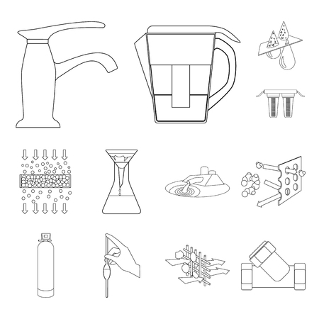 Water filtration system outline icons in set collection for design. Cleaning equipment vector symbol stock web illustration.