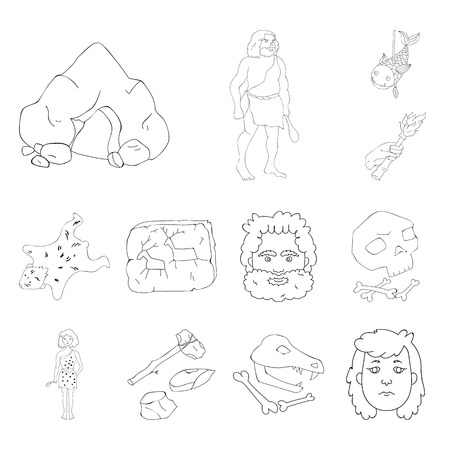 Life in the Stone Age outline icons in set collection for design. Ancient people vector symbol stock web illustration.