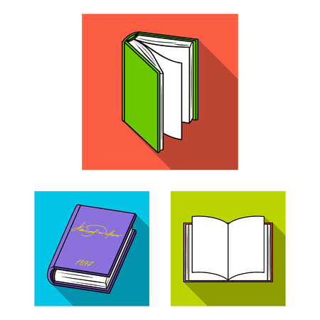 Book bound flat icons in set collection for design. Printed products vector symbol stock web illustration. Ilustrace