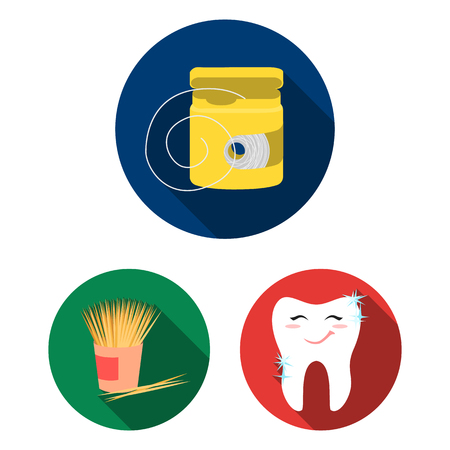 Dental care flat icons in set collection for design. Care of teeth vector symbol stock web illustration.