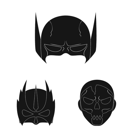 Isolated object of hero and mask sign. Set of hero and superhero vector icon for stock.