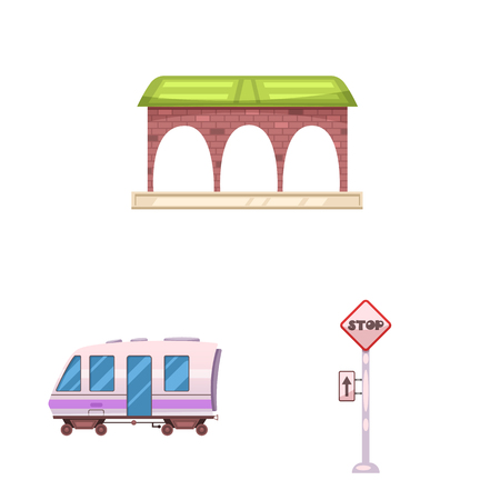Vector illustration of train and station icon. Set of train and ticket stock vector illustration. Illustration