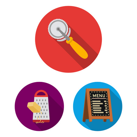 Pizza and pizzeria flat icons in set collection for design. Staff and equipment vector symbol stock web illustration.