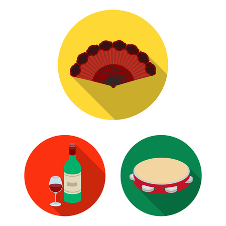 Spain country flat icons in set collection for design.Travel and attractions vector symbol stock web illustration.