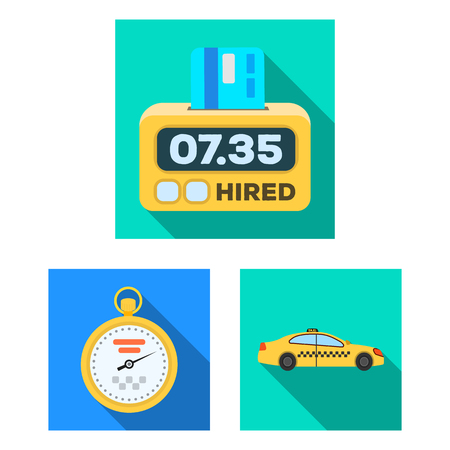 Taxi service flat icons in set collection for design. Taxi driver and transport vector symbol stock web illustration.