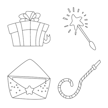 Isolated object of party and birthday symbol. Set of party and celebration stock symbol for web. Vettoriali