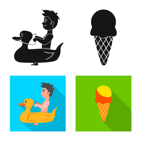 Vector illustration of pool and swimming sign. Collection of pool and activity vector icon for stock. Stock Illustratie