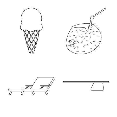 プールとスイミング シンボルのベクター図。ストックのプールとアクティビティ ベクタ アイコンのセット。