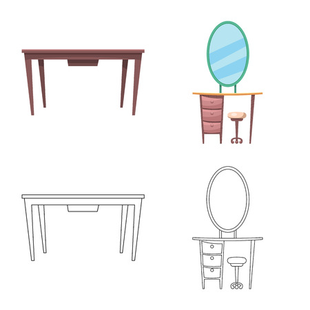 Vector illustration of furniture and apartment icon. Collection of furniture and home vector icon for stock.