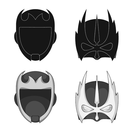 Vector illustration of hero and mask sign. Collection of hero and superhero stock symbol for web.