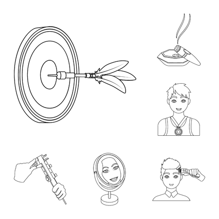 Manipulation by hands outline icons in set collection for design. Hand movement vector symbol stock  illustration. Illustration