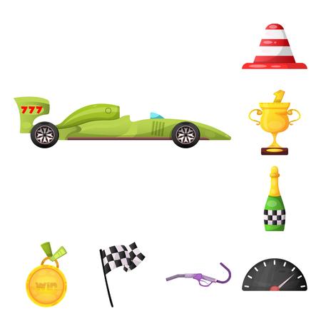 Vektorillustration des Autos und des Rallyesymbols. Satz Auto und Rennvektorsymbol für Lager.