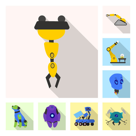 Isolated object of robot and factory symbol. Collection of robot and space vector icon for stock.