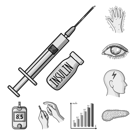 Diabetes monochrome icons in set collection for design. Treatment of diabetes vector symbol stock  illustration. Stock Illustratie