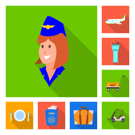 Isolated object of airport and airplane icon. Set of airport and plane vector icon for stock.