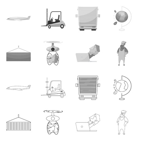 Vector illustration of goods and cargo logo. Collection of goods and warehouse vector icon for stock.