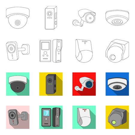 Vector illustration of cctv and camera sign. Collection of cctv and system stock vector illustration. Illustration