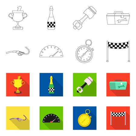 Vector illustration of car and rally icon. Collection of car and race stock symbol for web. Vettoriali