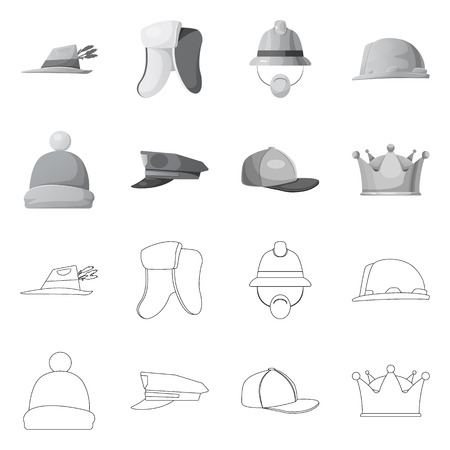 Isolated object of headwear and cap logo. Collection of headwear and accessory stock vector illustration. 矢量图像