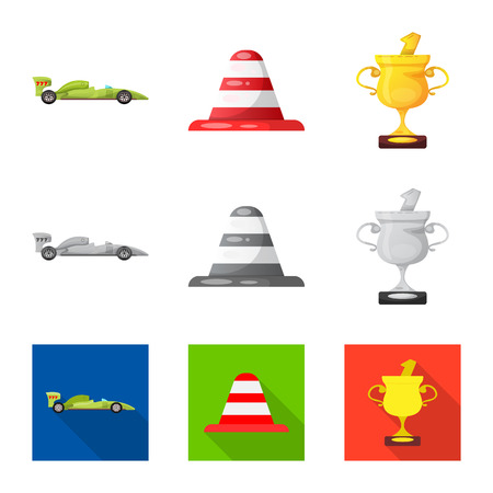 Vector design of car and rally logo. Collection of car and race vector icon for stock. Illustration