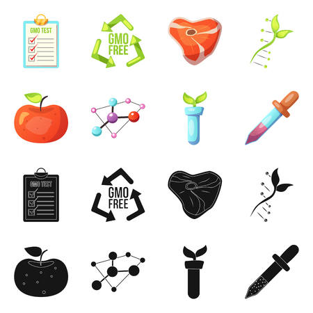 Vector illustration of genetic and plant symbol. Collection of genetic and biotechnology stock vector illustration.