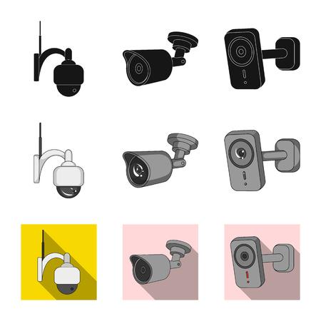 Ilustración de vector de cctv y logotipo de cámara. Conjunto de ilustración de vector stock cctv y sistema.