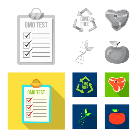 Vector illustration of genetic and plant icon. Set of genetic and biotechnology stock vector illustration.