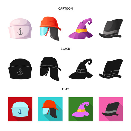 Vector illustration of headwear and cap sign. Set of headwear and accessory vector icon for stock.