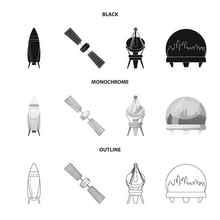 Objet isolé de l'icône de mars et de l'espace. Ensemble d'icône de vecteur mars et planète pour le stock.