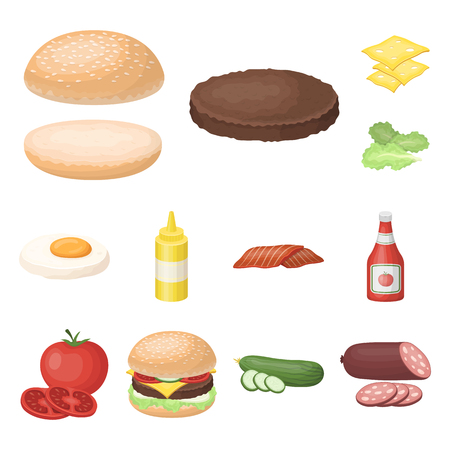 Burger and ingredients cartoon icons in set collection for design. Burger cooking vector symbol stock web illustration. Illustration