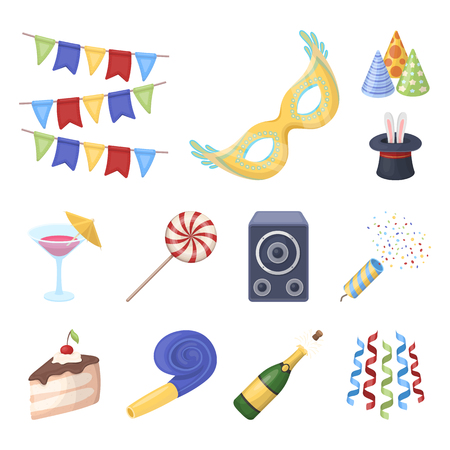 Party, entertainment cartoon icons in set collection for design. Celebration and treat vector symbol stock web illustration.